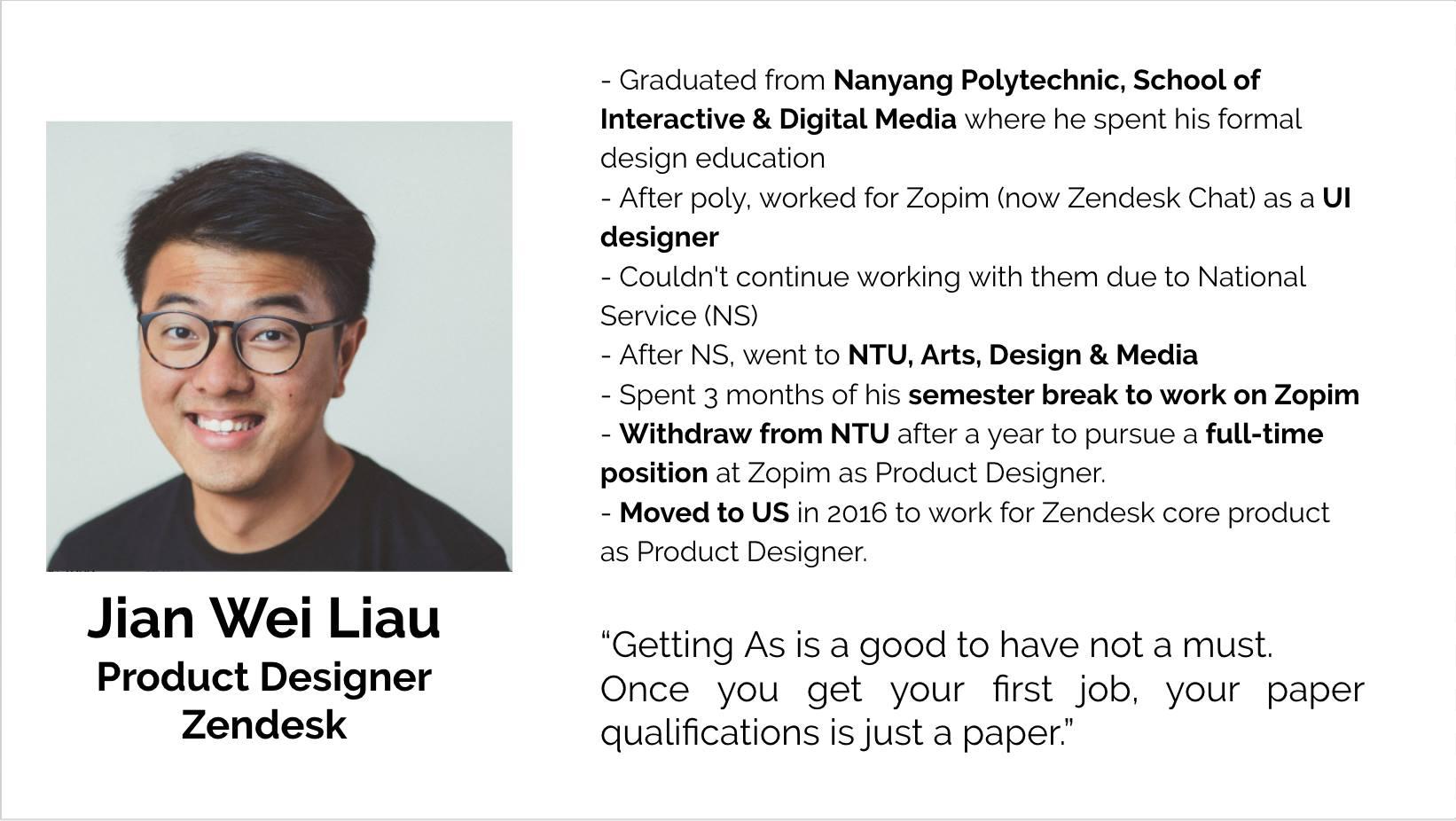 Jian Wei Liau, Product Designer, Zendesk