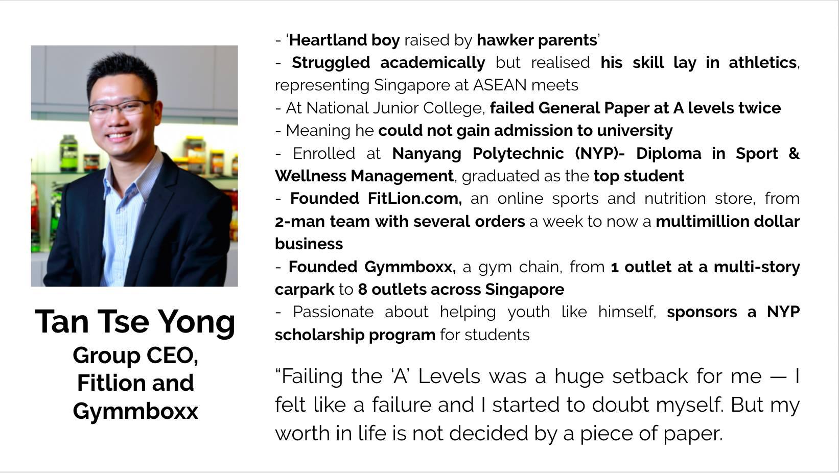 Tan Tze Yong, CEO, Fitlion & Gymmboxx