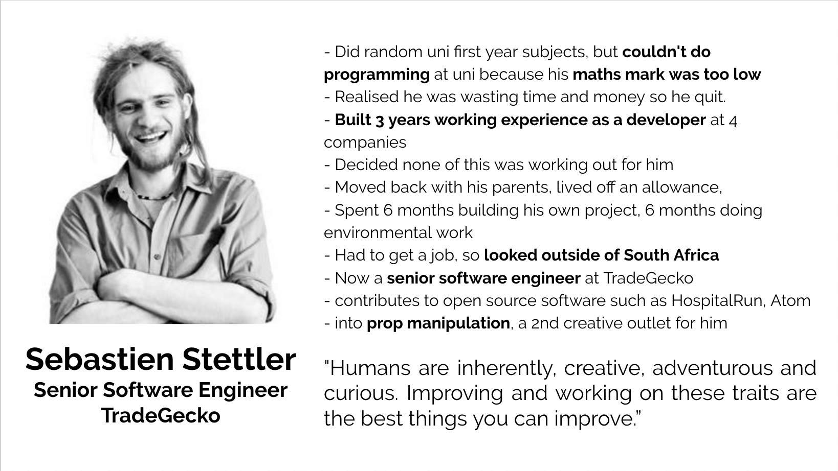 Sebastian Stettler, Senior Software Engineer, TradeGecko