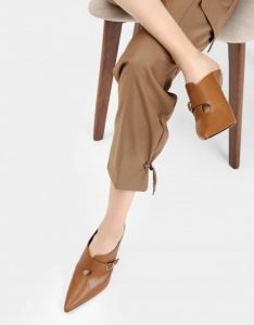 The New Savvy -Charles& Keith Buckled Wrap Details Mules 1
